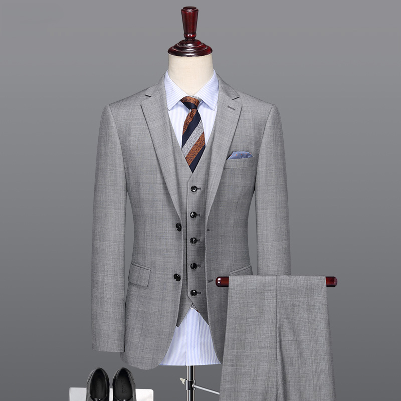 Men Suit Light Grey Smart Casual 50% Wool High Quality Groom Men Suits For Wedding Party Father Day Gifts Formal Suits Set Plus