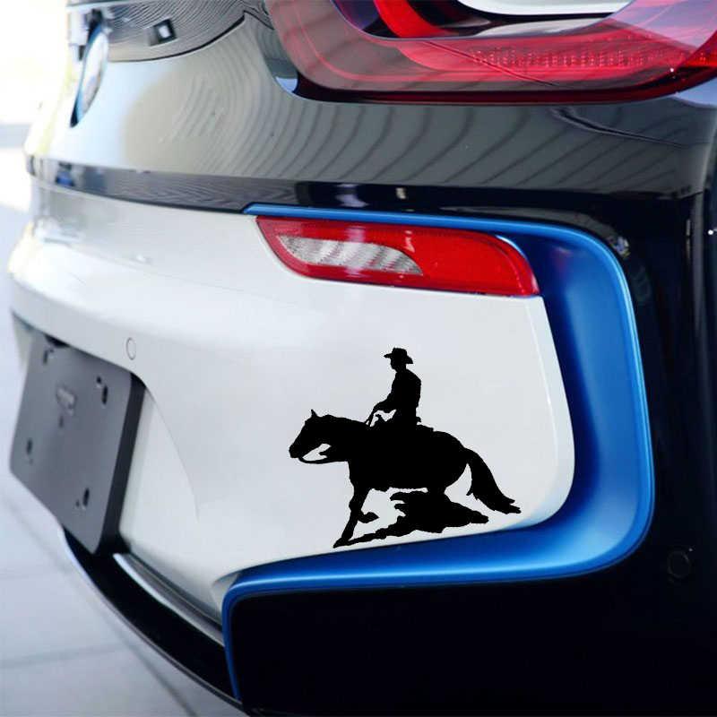 QYPF 13.2*11.4 CM Güzel Atlı Spor Dekor Araba Styling Sticker Yansıtıcı Vinil Grafik Siyah/Gümüş C16-0945