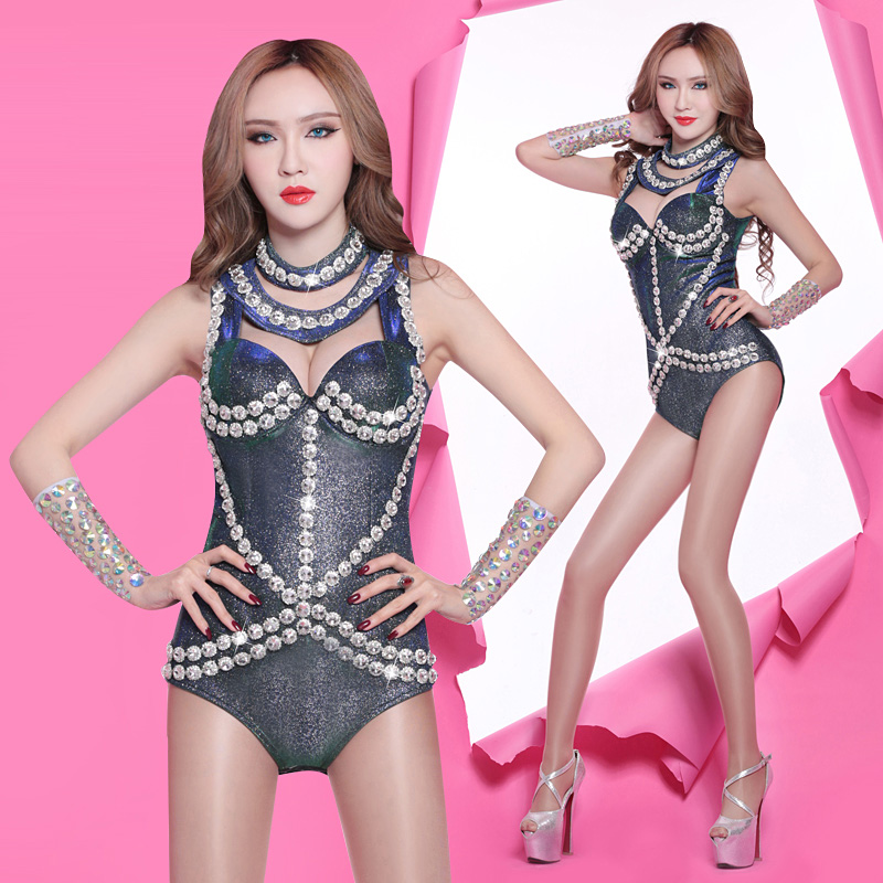 Beaded dance costumes sexy new bar DS DJ night dance costumes New Laser atmospheric Europe sequins nightclub singer clothes