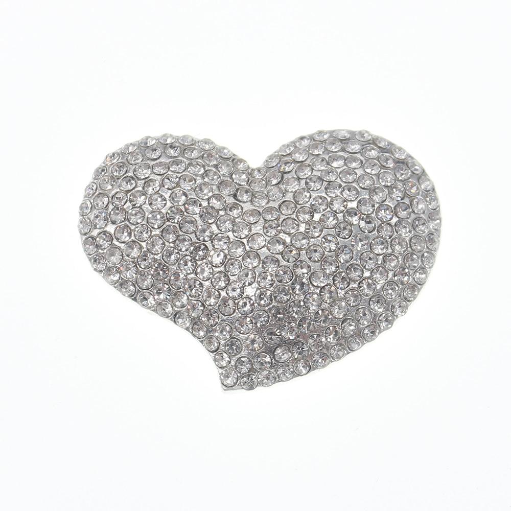 100pcs lot Clear Flatback Rhinestone Crystal Cute Chunky Heart shaped Brooch and Pins for Wedding