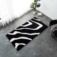Уникальный дизайн черно белый микс Зебра шаблон коврик из овечьего меха с учетом размера овчины стриженый мех прикроватные коврик, напольн