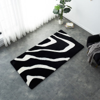Unique design Black and white mix zebra pattern sheepskin fur rug tailored size sheepskin sheared fur bedside carpet floor mat
