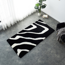Unique design Black and white mix zebra pattern sheepskin fur rug tailored size sheared bedside carpet floor mat