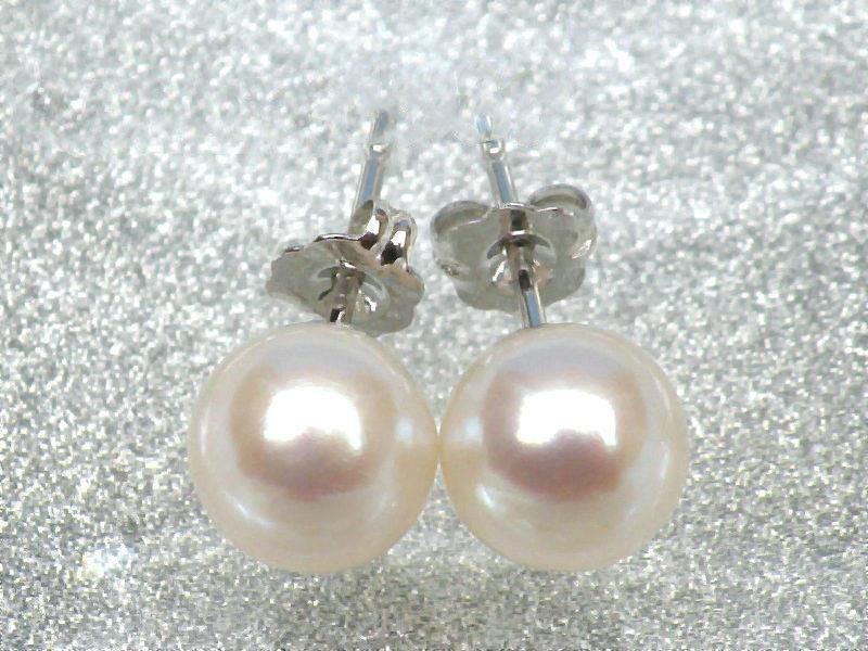 TOP AAA+++ 7.3mm perfect round white akoya pearls earring 14k solid white goldTOP AAA+++ 7.3mm perfect round white akoya pearls earring 14k solid white gold
