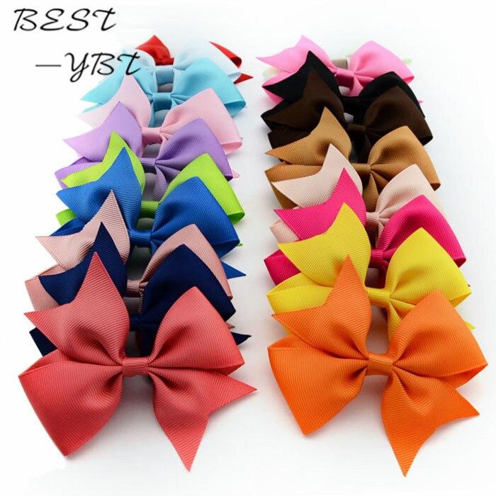 3.5 Inch Hhigh Quality Grosgrain Ribbon Hair Bows WITH CLIP Children Hair Accessories Baby Solid Girl Hair Bows