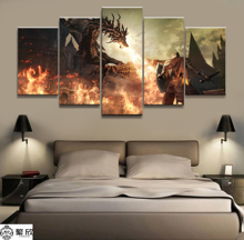 Hot Sales Without Frame 5 Panels Picture Dark Souls Warrior Canvas Print Painting Artwork Wall Art Wholesale