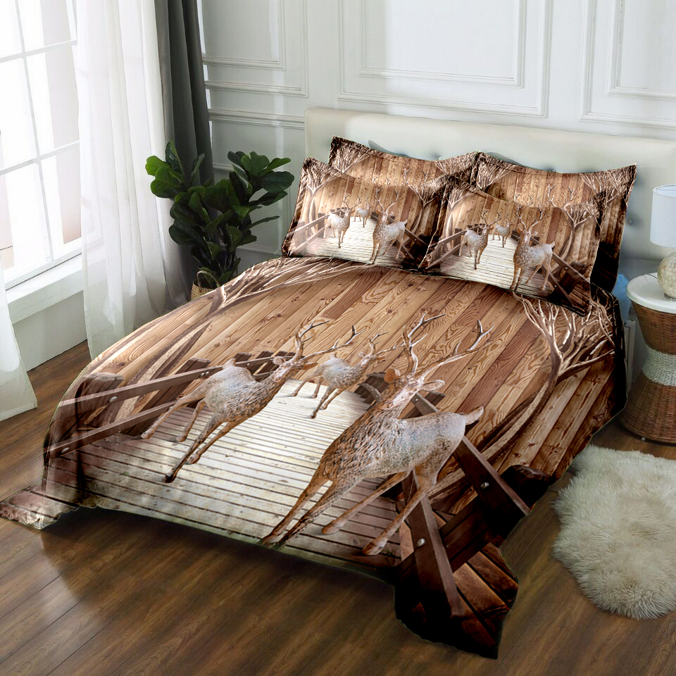 US $62.49 40% OFF|3d bedding set cal king Twin full Queen bed sheet Duvet  bed cover Double Bed set Pillowcase California King Wood deer print-in ...