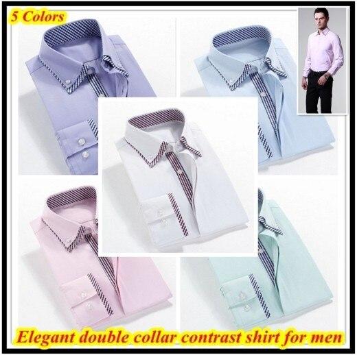 Top brand Европейский размер 38-44 Высокое качество hombres де camisa с длинными рукавами двойной воротник рубашки для мужчин QR-1206
