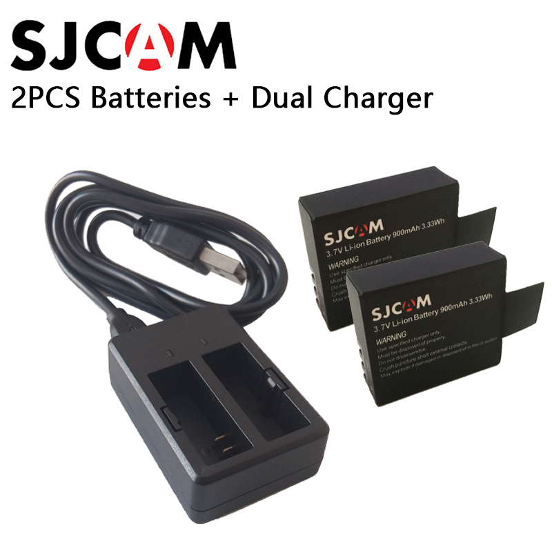 2PCS SJCAM Batteries Rechargable Battery + Dual Charger For SJ4000 SJ5000 SJ5000X WIFI M10 Plus sport  action Camera Accessories original 1050mah rechargable battery 3 7v li ion battery for sj8000 sj7000s j5000 sj4000 m10 sj5000x sj5000 sport action camera