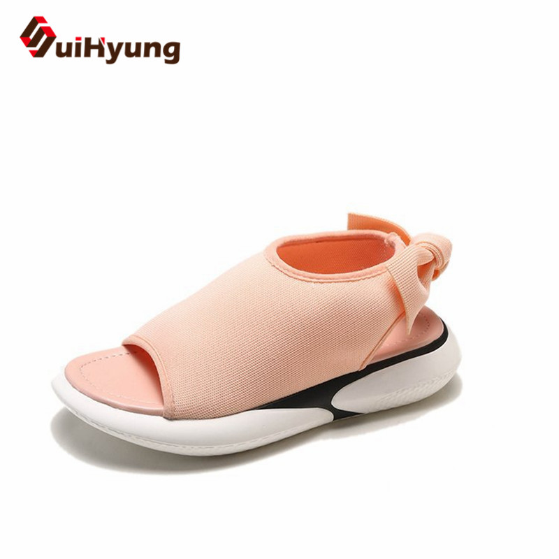 Suihyung Women Sandals New Summer Woman Flats Casual Outside Sneakers Flat Sandals Breathable Mesh Peep Toe Students Sport Shoes