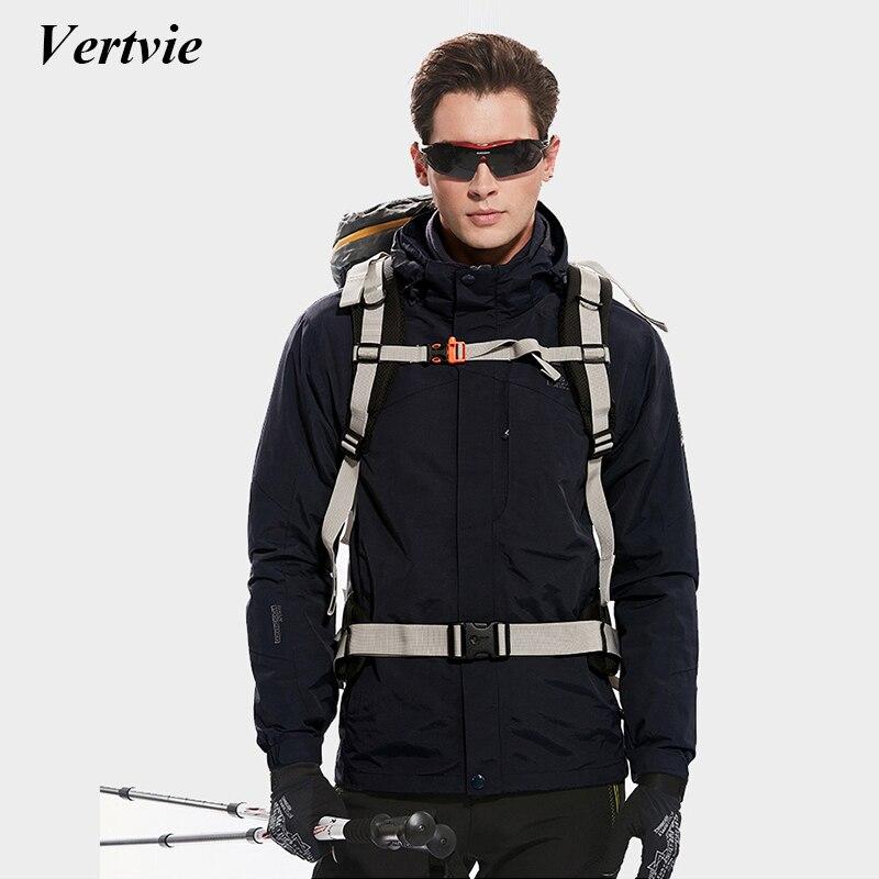 Vertvie Men Camping Hiking Jacket Plus Size Winter Fleece Thermal Windstopper Rinding Cycling Running With Waterproof Hat