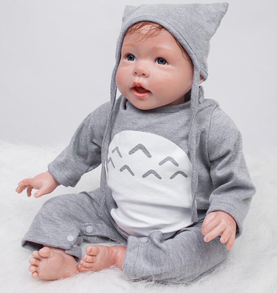 22 pouces fait à la main Reborn bébé poupée nouveauté born réaliste poupées doux Silicone vinyle garçon fille bouche ouverte brinquedos otarddoll