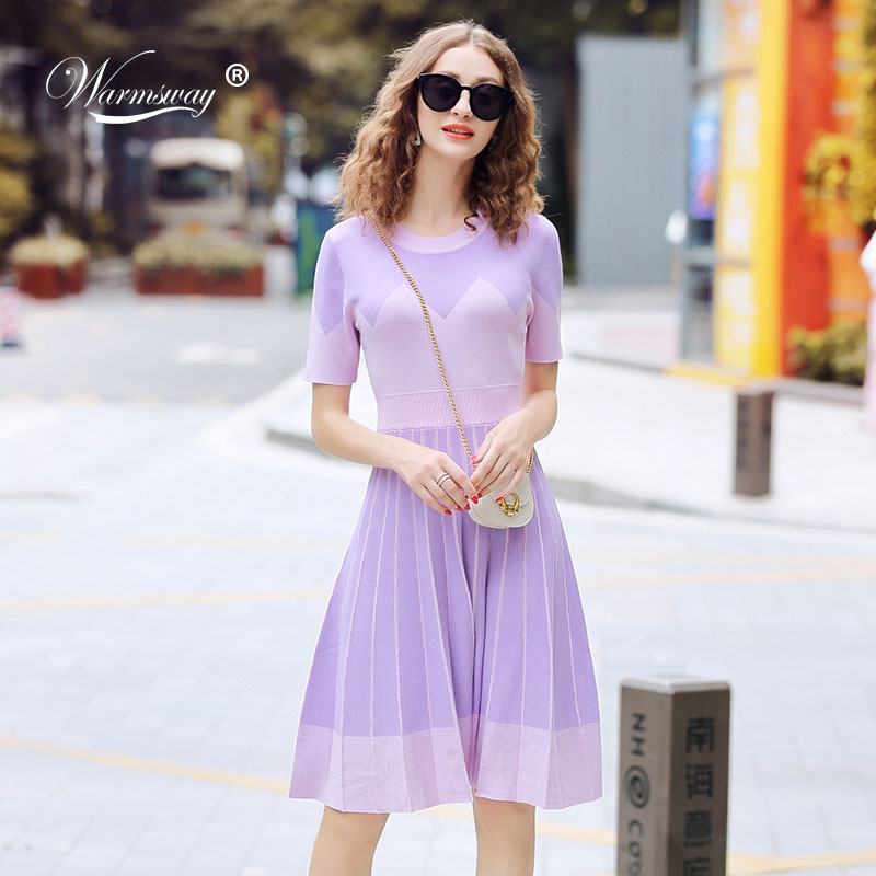 Summer 2019 Round Neck Short Sleeve Violet Fit And Flare Knitting Dress Elegant Slim Pleated Tunic Dress C-135