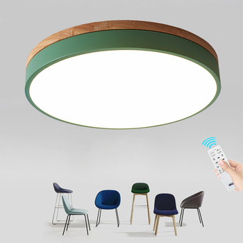 Ultra-thin 6cm Circular LED Ceiling Lamp Modern Macaron Solid Wood Ceiling Light For Kindergarten Restaurant Cafe Home Decor - discount item 19% OFF Lights & Lighting