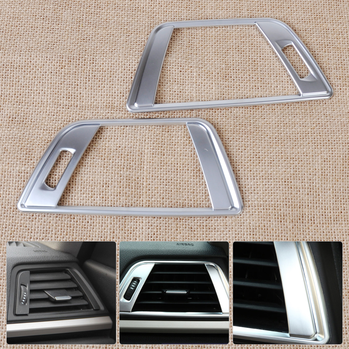 beler Silver Chrome Dashboard Side Air Vent Outlet Trim Cover for BMW 3 4 Series F30 <font><b>F31</b></font> F32 F34 F35 F36 2014 2015 2016 image