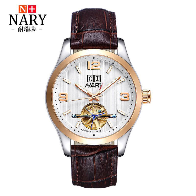 NARYWatches Men Luxury Brand Automatic Skeleton Mechanical Watches Men Leather Watch Casual Wristwatch Male Clock Hombre Relogio biaoka automatical mechanical watches men luxury brand male clock leather wristwatch men skeleton casual business gold watch