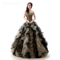 Vintage Victorian Gothic style Black Lepoard Embroidery Sweetheart Bodice Corset Ball Gown Quinceanera Dress vestido de 15 anos