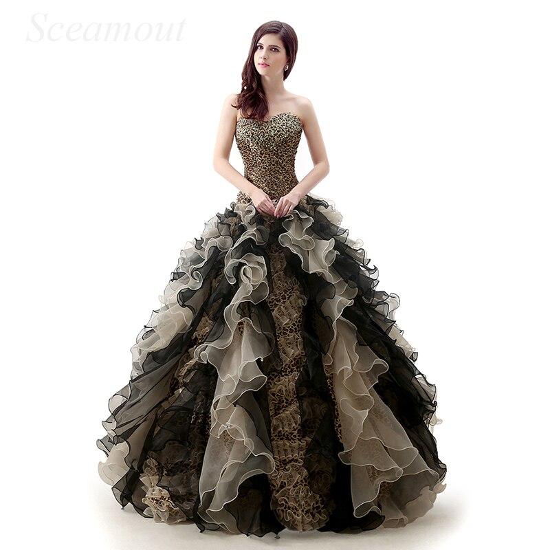 Vintage style gothique victorien noir léopard broderie chérie corsage Corset robe de bal Quinceanera robe vestido de 15 anos