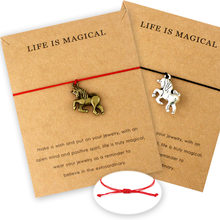 Unicorn Horse Life is Magical Animal Charms Bracelets Rope Chain Women Men Unisex Fashion Best Friends Jewelry Christmas Gift(China)