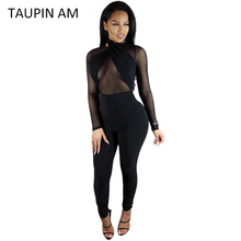 Taupin AM сексуальный черный комбинезон Женщины Холтер прозрачной сетки Bodycon бинты комбинезон Длинные рукава комбинезон назад молния Клубная одежда