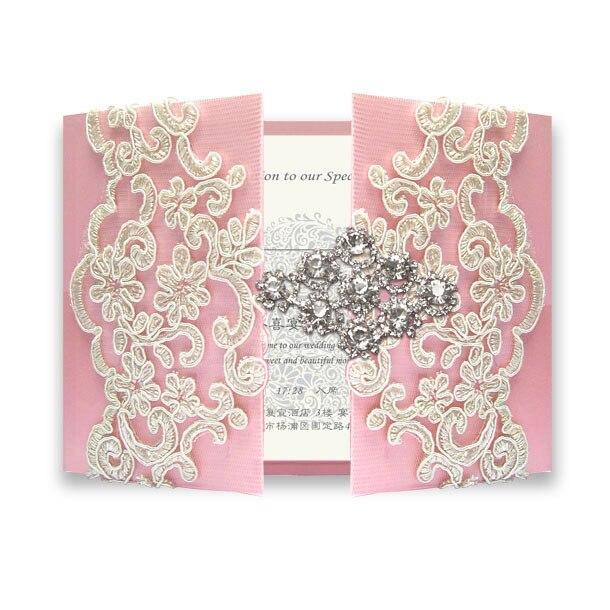 30 gab Diamond Pink Lace kāzu ielūgumi - 30 - Svētku piederumi