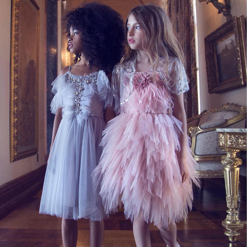Baby girl grey rhinestone sequin mesh dress kids Princess Birthday temperament dress
