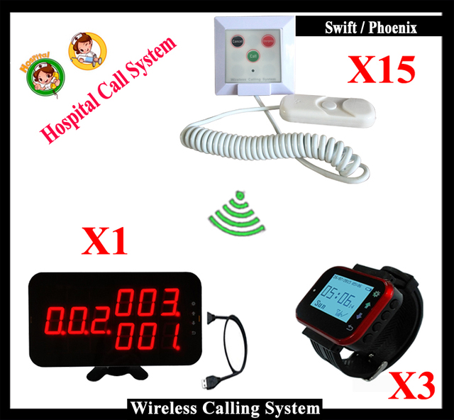Smart Clinical Nurse wireless nurse call bell sysem 1pcs K-4-C-USB 3 Watch 15pcs Nurse Calling Button for Medical Emergency Call