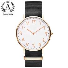 цена Avocado Canvas Simple Arabic Watch Casual Fashion Man Woman Universal Quartz Wristwatch Design Clock Gift онлайн в 2017 году