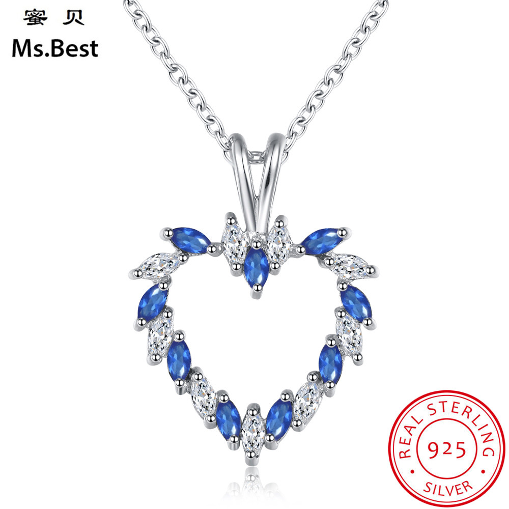 Sapphire Pendant Sapphire and Diamond Necklace Solid Sterling Silver Pendant