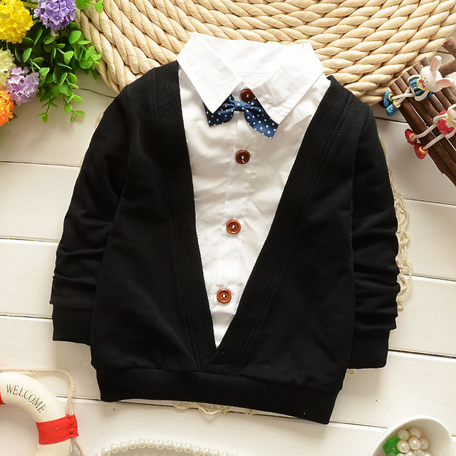 Hot! Kids Clothes Baby T Shirt for Boy Clothes Cotton Clothes Baby Clothing Cartoon Fake Two Long Sleeve Tshirt Kids Clothes