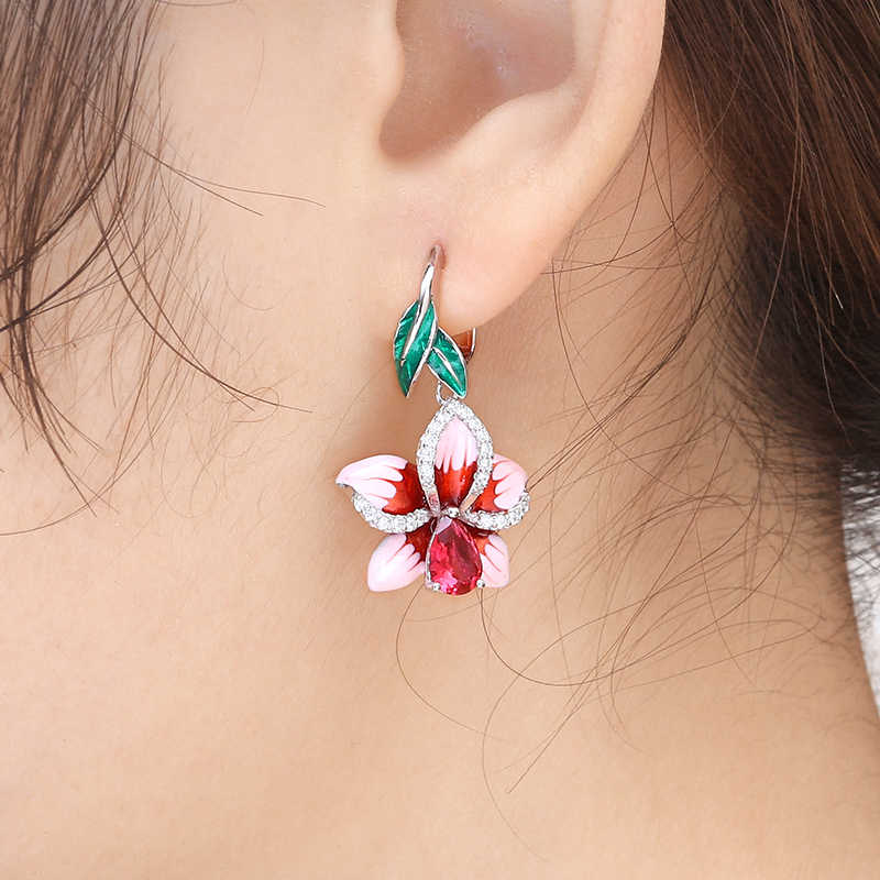 Copper Pink Enamel Flower Drop Earrings For Women Earrings Hanging Enamel Earring With Stones Vintage Boho Long Earring Jewelry