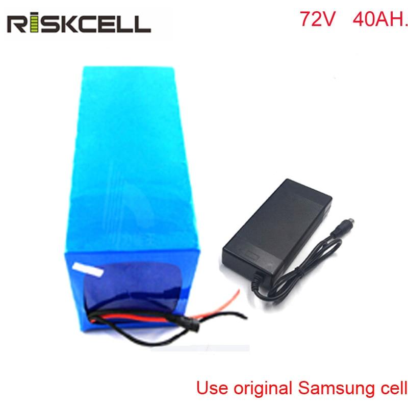 Покрытие 72 В 40ah DIY глубокий цикл литий Батарея 72 В 3500 Вт Ebike Батарея для электрических мотоциклов с зарядное устройство для Samsung ячейки