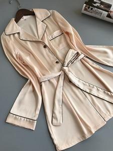 Image 4 - 여자 실크 새틴 잠옷 잠옷 세트 긴 소매 잠옷 Pijama Feminino 잠옷 정장 여성 수면 두 조각 세트 Loungewear