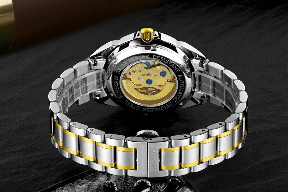 BINSSAW 2018 Nieuwe Man Originele Luxe Merk Herenmode Business Rvs - Herenhorloges - Foto 4