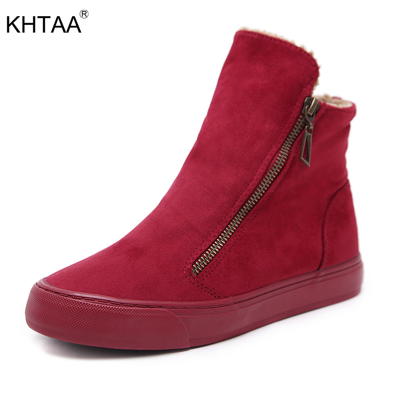 KHTAA Women's Winter Warm Plush Zip Ankle Snow Boots Female Suede Fur Flat Solid Platform Slip On Black Comfortable Shoes models atomic orbital of ethylene molecular modeling chemistry teaching supplies
