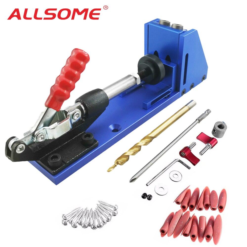 ALLSOME портативный карманный джиг комплект с PH1 отверткой 9,5 мм набор сверл для плотника Деревообрабатывающие инструменты