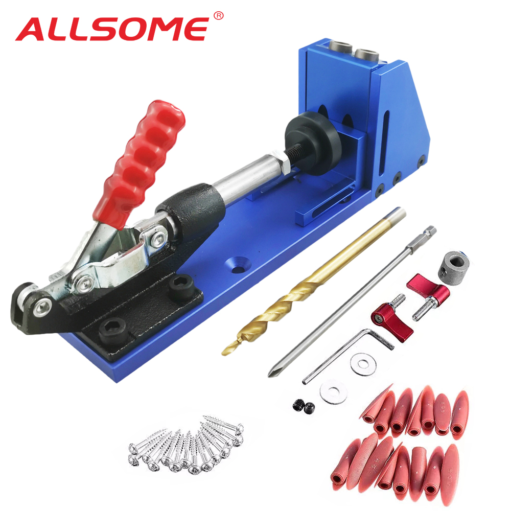 ALLSOME Portable Pocket Hole Jig Kit System With PH1 Screwdriver 9.5mm Drill Bit Set For Carpenter WoodWorking Hardware Tools