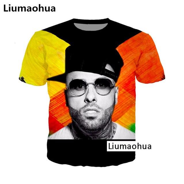 Liumaohua más nuevo Hip Hop DJ cantante Nicky Jam rapero X 3D Print  T-shirt. Sitúa el cursor encima para ... 0f7175fca7f