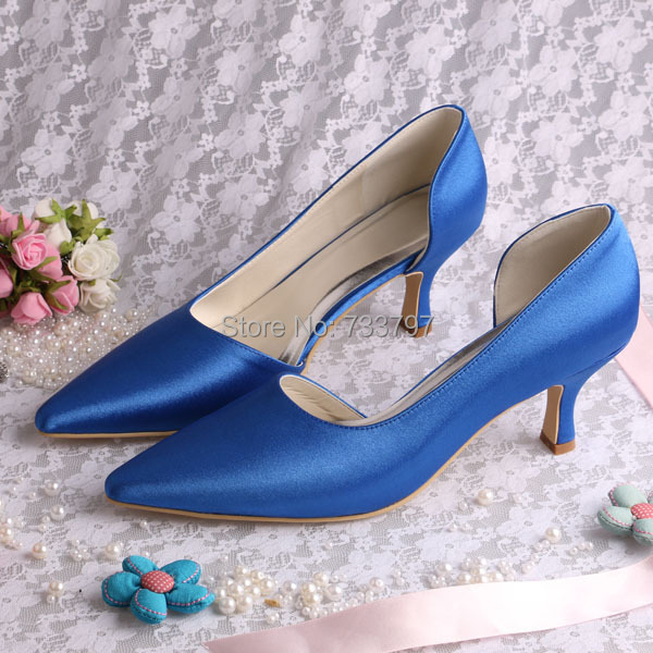 ФОТО Wedopus MW738 Custom Handmade Women Blue Heels Shoes Wedding Medium Heel 6.5CM