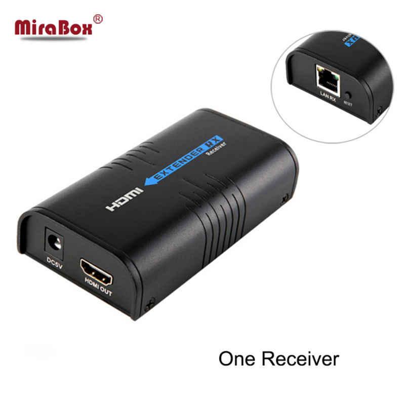 Mirabox transmissor e receptor hdmi, extensor e receptor sobre ip tcp utp como hdmi, divisor sem latência, 1080p hdmi cat5 extensor