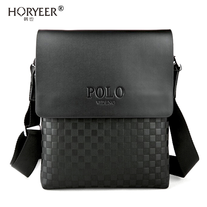 Horyeer Luxury Briefcase Plaid Polo Bag Men Messenger Bags Leather Shoulder Business Crossbody For Male Bolso Hombre In From Luggage