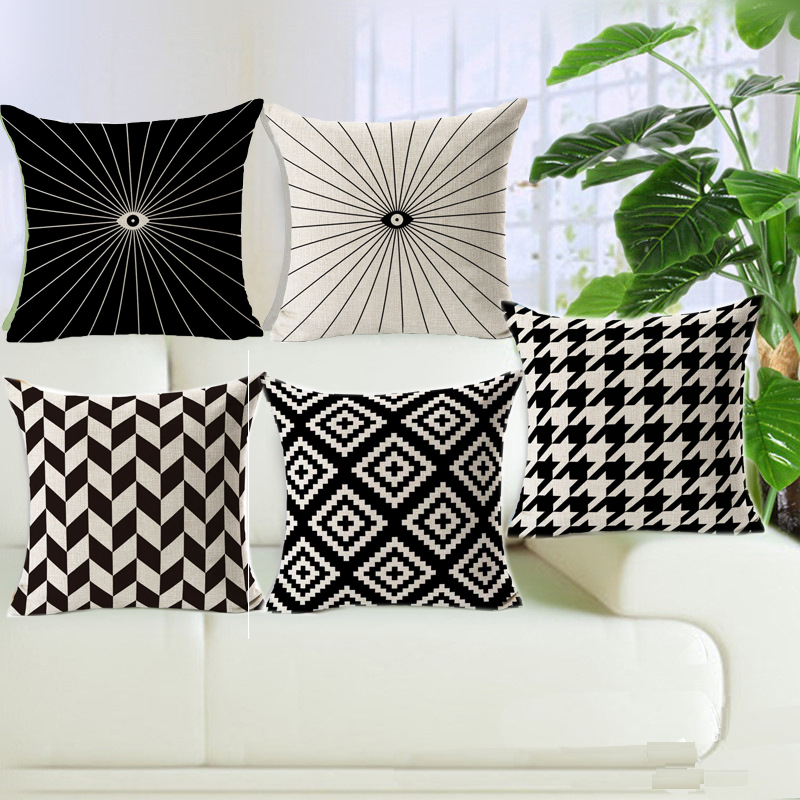 Decorative Throw Pillow Cover Case Black And White Geometric Cotton Linen Seat Cushion Cover For Sofa Home Decor Capa Almofadas