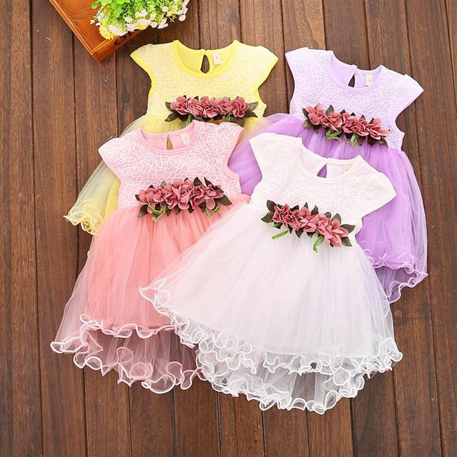 1 Year Birthday Party Dress Flower Mesh Princess Baby Kids Dresses for Girls Summer Style A-line O-neck Children Clothing
