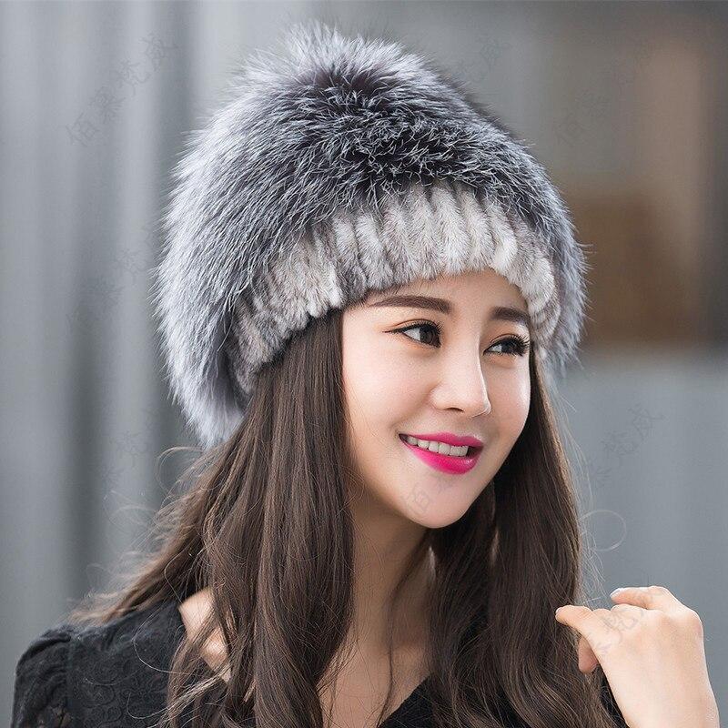 Real mink fur handmade stitched female hat top silver fox fur warm hat fashion