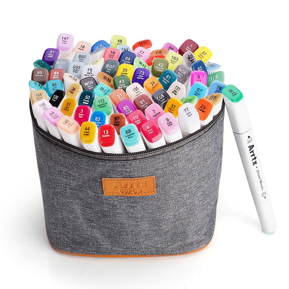 Arrtx 80 Color Set Art Marker Pen Artist Dual Head Drawing Sketching Markers Watercolor Carry Bag