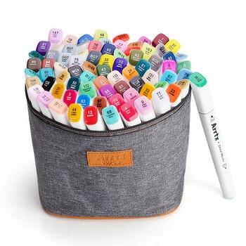 Arrtx 80 цветов Набор художественные маркеры ручки для рисования двойная головка рисуйте наброски маркеры цвет воды + сумка для переноски + упа... >> AX Art Drawing Store