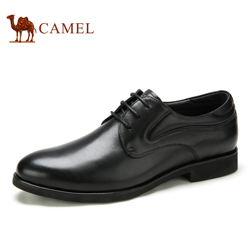 Camel 2016 New Mens Flat Shoes Genuine Leather Business Dress Shoe Lacing Free Shipping A632102150