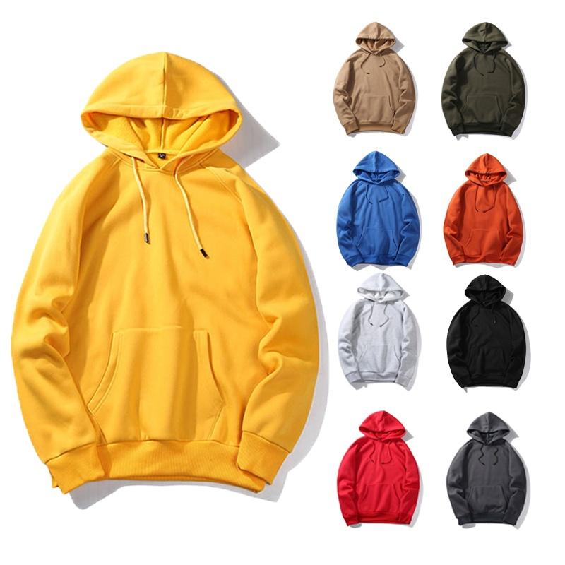 Army Green Solid Color Hoodies Men's Thick Clothes Oversized Hoodie Sweatshirts Men Hip Hop Fleece Hoody Man Clothing EU Size