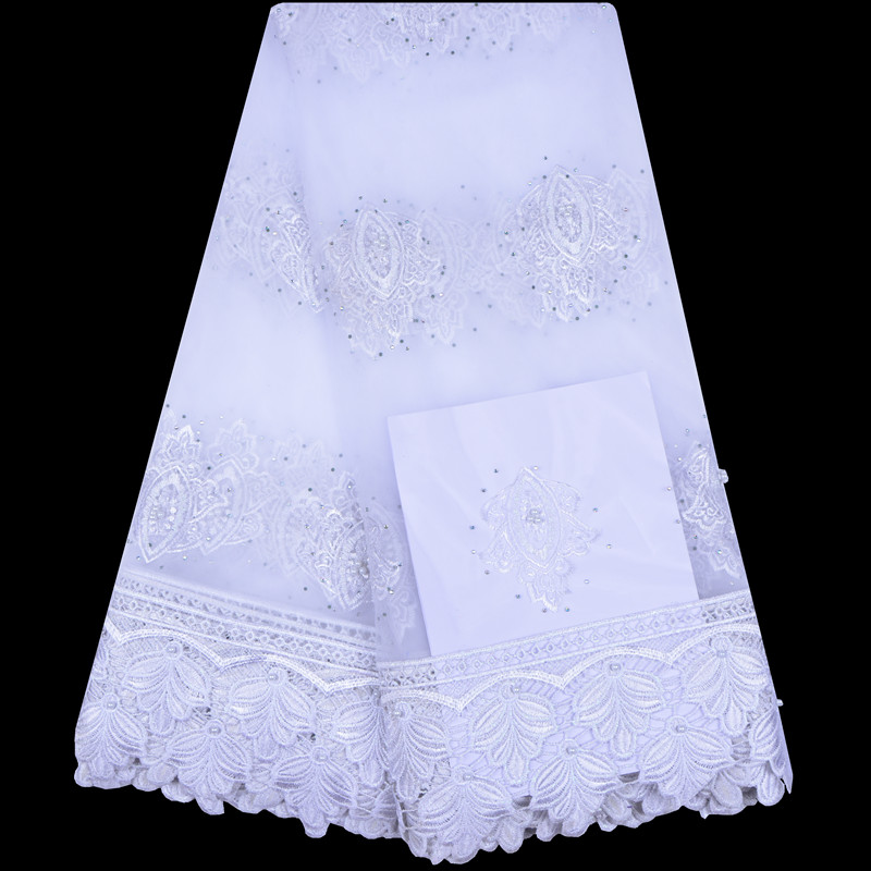 2018 Hot Sale White Embroidered African Lace Fabric High Quality With Beaded French Net Lace Guipure