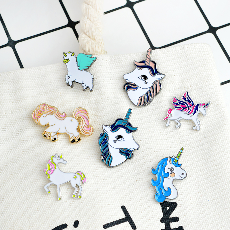 Cartoon Pegasus unicorn Alpaca Compilation Brooch <font><b>Button</b></font> <font><b>Pins</b></font> Denim Jackets <font><b>Pin</b></font> Badge Animal Jewelry Gift Surprise for Kids image